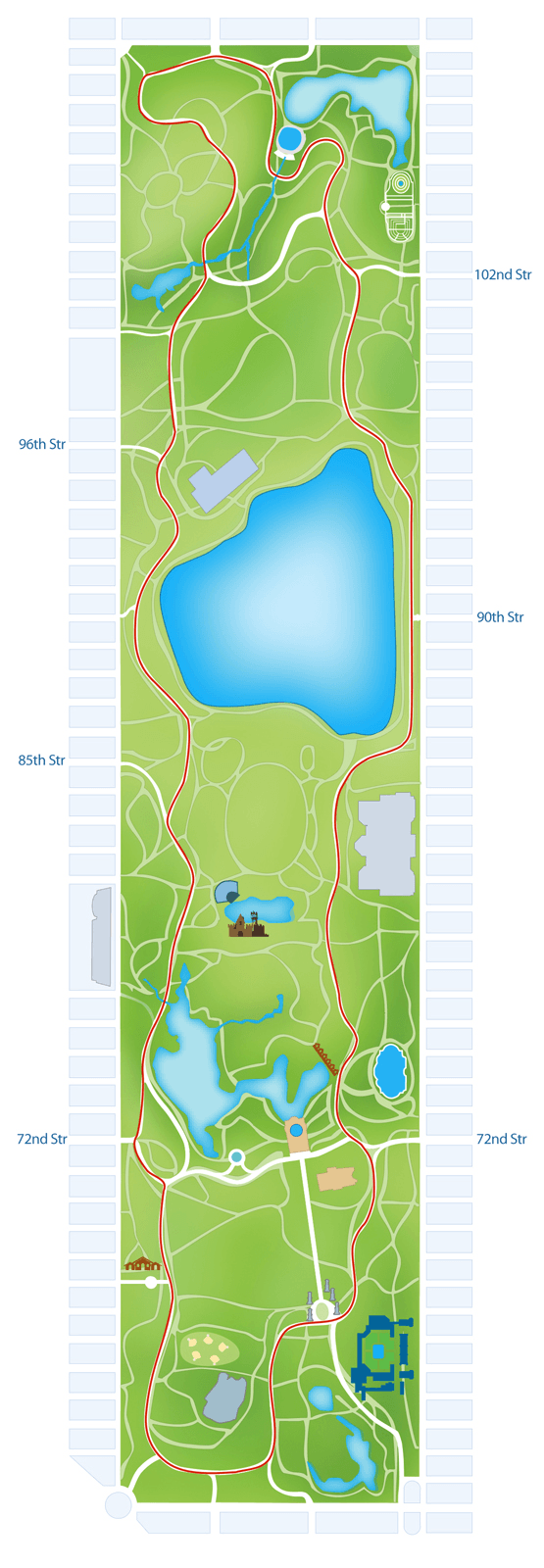 Central park walking tour route