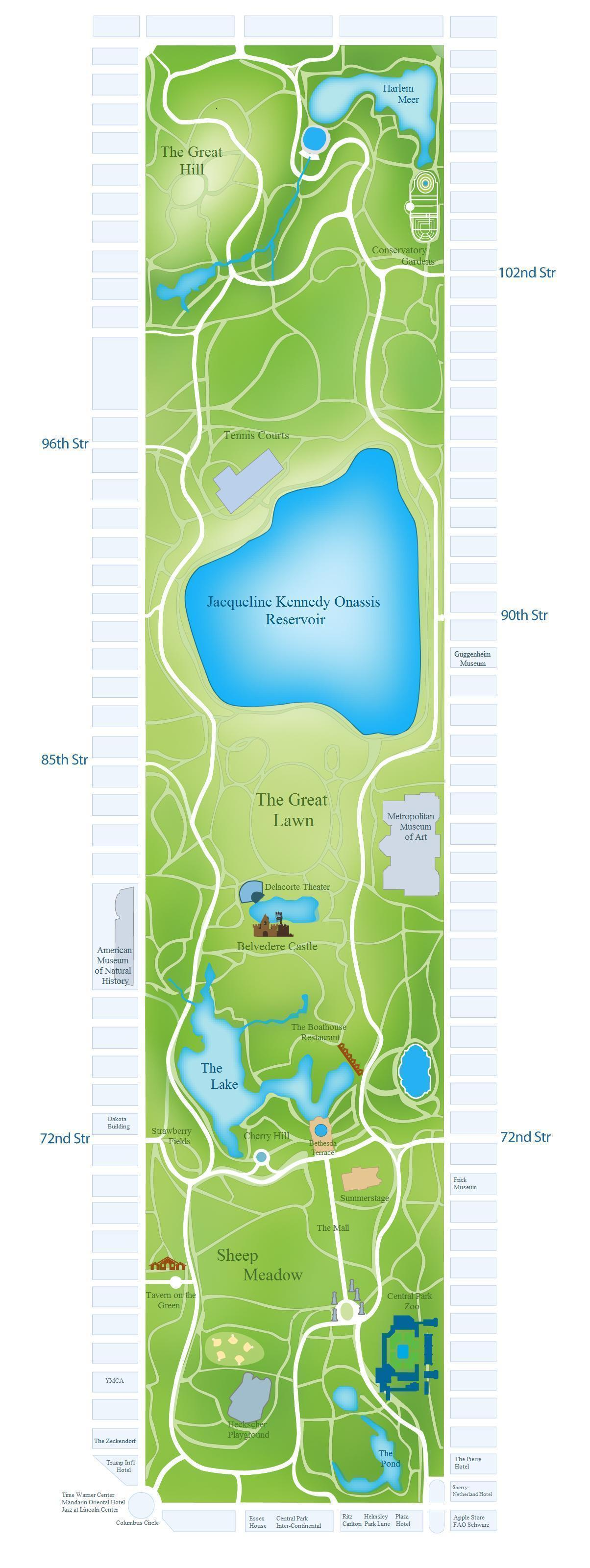Central park map New York