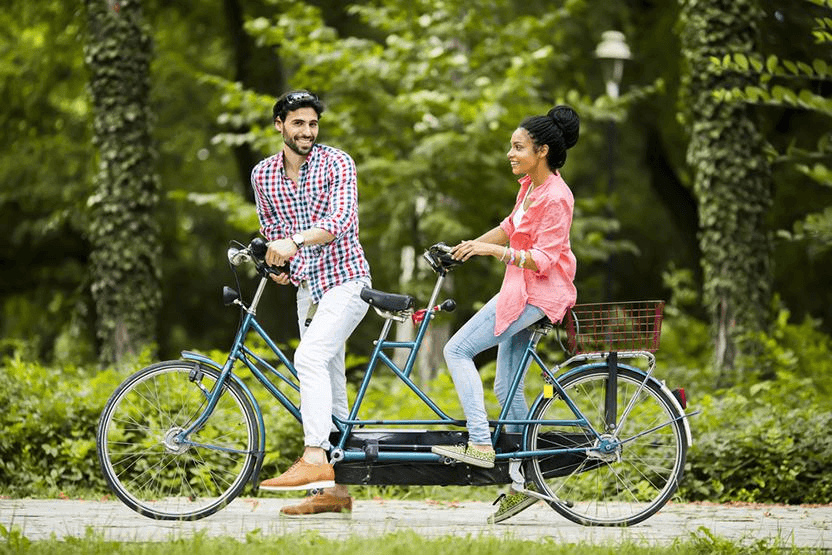 Riding tandem bike in Central park